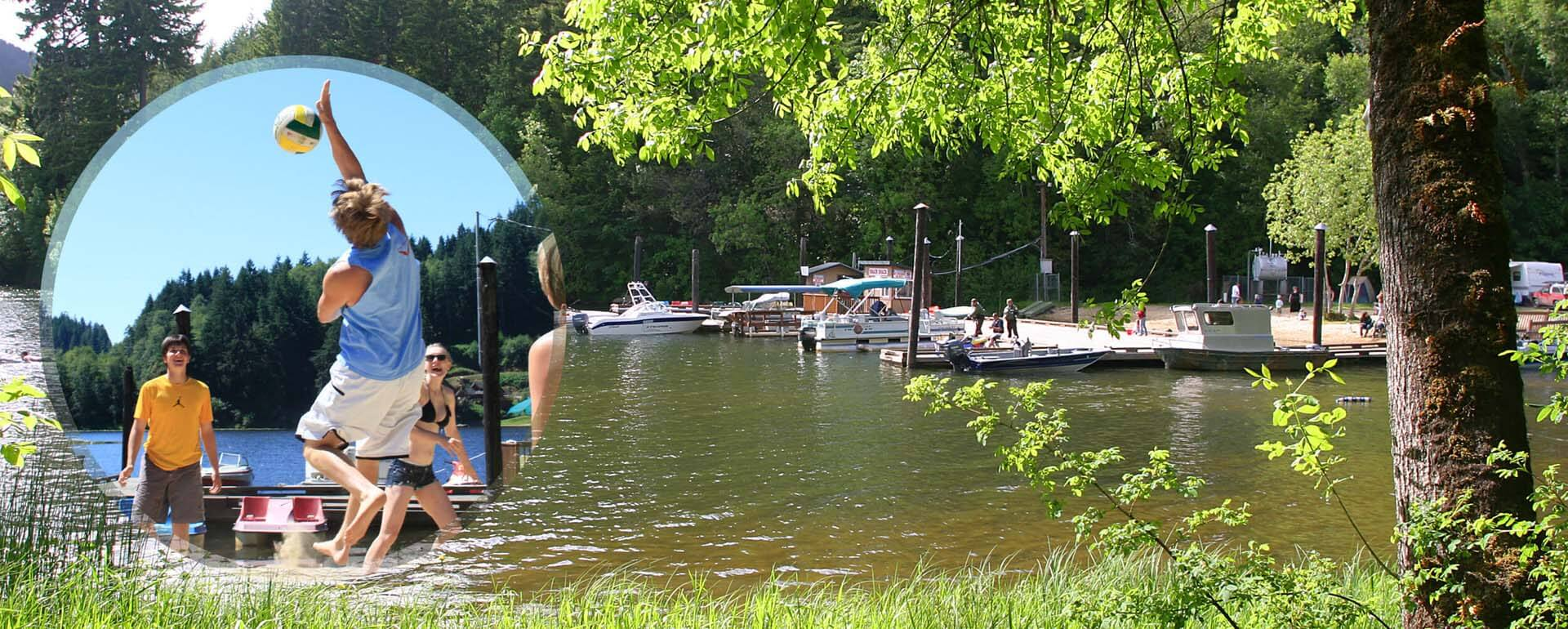 Loon-Lake-Lodge-and-RV-Resort-sand-volleyball-and-marina