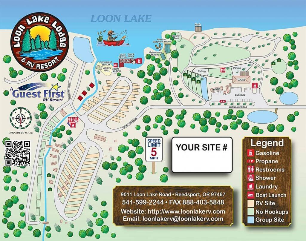 Resort Map for Loon Lake Lodge and RV Resort